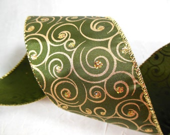 Deep Green and Gold Spiral Ribbon - Wire Edge, Wide Width, Opulent