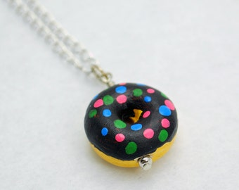 Donut Necklace Chocolate Icing Sprinkles Pendant in Silver - Doughnut Jewelry, Food Jewellery, Baked Goods, Baking, Foodie, Breakfast, Gift