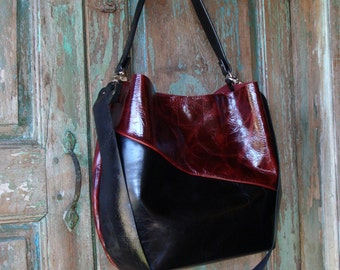 Handmade Black and Red Leather Hobo
