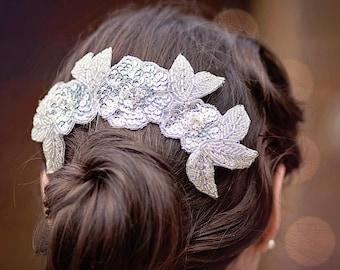 Silver Headpiece, Bridal Headpiece, Wedding Hair Piece, Beaded Hair Comb, Silver Hair Comb, Sparkly Comb, Wedding Comb, Grecian Bridal Comb