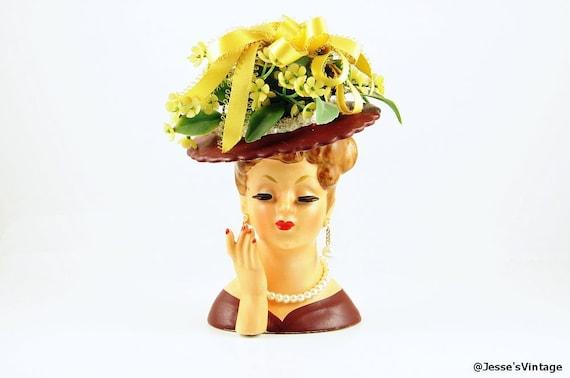 Napco Lady Head Vase C1958 Made In Japan W Flowers Brown