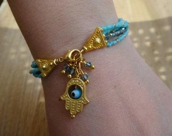 Gold and Swarovski Crystals Hamsa Bracelet