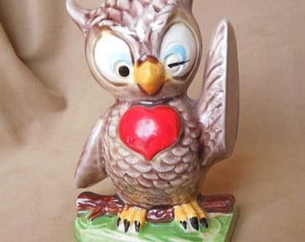 Winking Owl Bank, BookEnd, Vintage 70's Ceramic, Tan, Brown, Red  and Green, Made in Japan.
