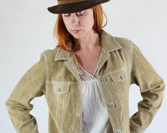 Suede Grunge Jacket, 90s Womens Jacket, Southwestern Sand Beige Suede Leather Jacket // Fall Jacket, Size Large, FREE SHIPPING