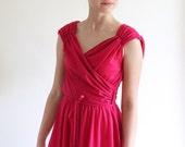 70s dress - fuchsia pink disco dress - xs