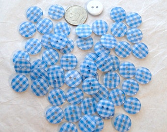 20 Buttons GINGHAM  Plaid  Light Blue White, 13mm Crafting, Jewelry, Collect (AG 1)