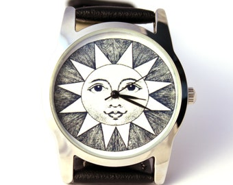 Watch Sun with antique engraving, mens watch, womens watch