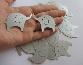 Silver Elephant Die Cuts - Table Confetti - Baby Shower Decoration - Paper elephants - Silver baby shower
