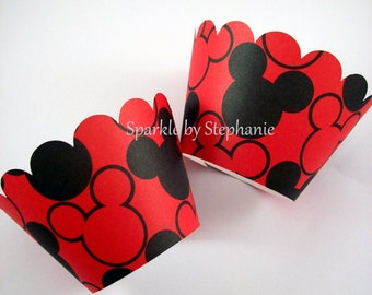 Mickey Mouse Cupcake Wrappers - Red with Black Mickey Heads Design - Set of 12+