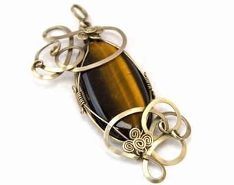 Retro Pendant, Wire Wrap Pendant, Silver Pendant, Tiger Eye Pendant, Brown Pendant, Gemstone Pendant, Vintage Pendant, Stone Pendant