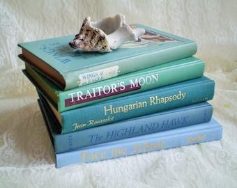 Teal Blue Book Set, Beach Cottage Decor, Beach House Decor, Instant Book Collection, Ocean Colors Decor
