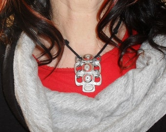 Riveted Metal Pendant, Recycled Aluminium, on Adjustable Cotton Cord, Silver and Red Eco Friendly Necklace