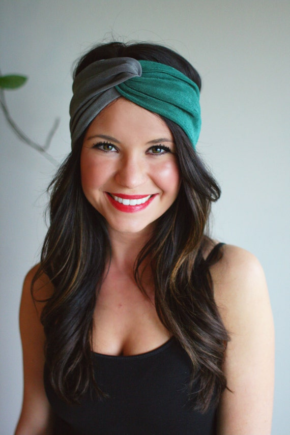 Emerald and Gray Color Block - Turban Style Headband