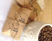 Unique Spring Wedding Favors. Set of 50 with a Custom Stamp. Rustic coffee wedding favors, roasted with love.