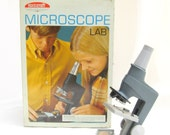 vintage microscope.gray.school.skilcraft.lab.60's.industrial.urban.tessiemay