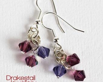 Preciosa crystal dangle earrings with purple and violet crystals