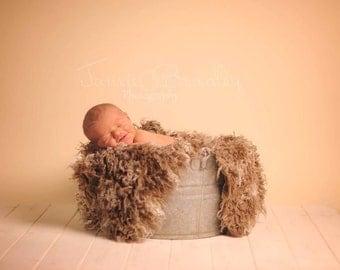 Fur Prop, Newborn Photo Prop, Brown and Tan Curly Mongolian Faux Fur, Baby Boy photo prop