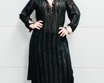 Vintage 1980's Sheer Dress with Gold Metallic Stripes, Buttons and Collar