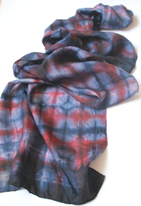 Plaid Scarf. Blue Scarf. Boho Scarf. Shibori Silk Scarf.  Hand Painted Silk.