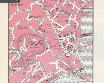 Naples Italy Map, City Map, Street Map, 1950s, Pink, Black and White, Retro Map Decor, City Street Grid, Historic Map