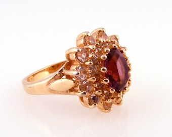 Vintage Faux Amethyst Diamond Ring Purple Rhinestone Cluster Cocktail Costume Jewelry Size 6