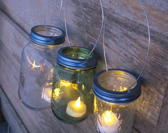 Mason Jar Lights Blue Lids Wedding DIY Candle Holders Blue Mason Jar Hanging Lids Only, No Jars