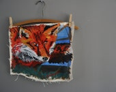 Fox Spotted Woodland Acrylic  Painting Impressionistic expressive bold lines animal outdoors repurposed fabric cloth original art tattered