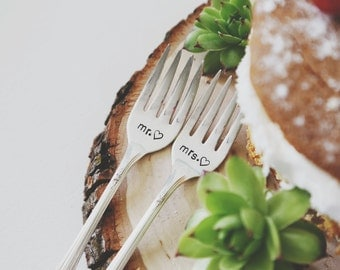 Mr. & Mrs. - Hand Stamped Vintage Wedding Cake Forks (Matching Set)