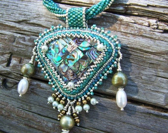 Abalone Mosaic, Pearl and Beadwork Necklace