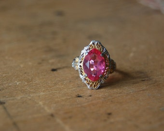 Art Deco sterling and pink glass filigree ring ∙ 1930s filigree ring