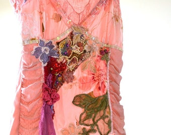 Romantic pink vintage reconstructed boho chic style blouse
