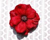 Pin up hair anemone flower in bright red velvet and silk beautiful colour top quality