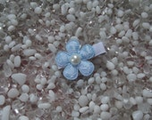 Light Blue & White Lace Flower with Pearl Center Hair Clip - No Slip Grip - Baby - Toddler - Girl - Teen - Adult Hair Clip