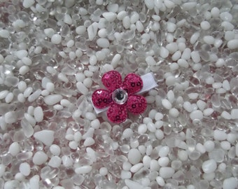 Hot Pink Sequin Flower with Rhinestone Center Hair Clip - No Slip Grip - Baby - Toddler - Girl - Teen - Adult Hair Clip