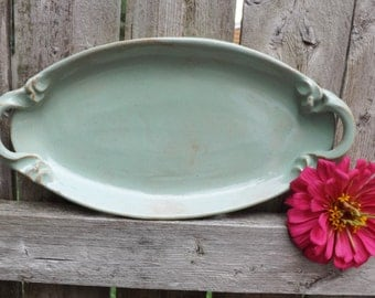 Ready to Ship: Ceramic Oval Platter in Pistachio Green