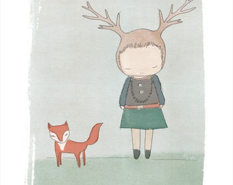 Medium to Large Modern Nursery Wall Art Red Fox and Deer Girl Illustration, Whimsical Art For Kids Room, Animal Characters, Fox Wall Prints