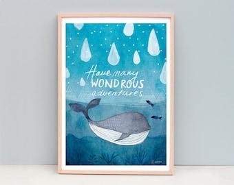 Whale Art, Large Art Print, Nursery Art, Whale Watercolor, Adventure Art Print, Whale Nursery Art, Whale Nursery, Blue Nursery Art