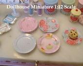 DOLLHOUSE MINIATURE - Set of 8 Glossy Paper PLATES - Shabby Dots Florals & Paris - 1:12 Scale