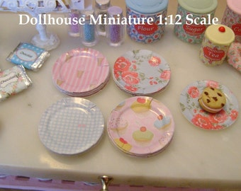 DOLLHOUSE MINIATURE - Set of 8 Glossy Paper PLATES - Shabby Dots Florals & Paris - 1:12 Scale