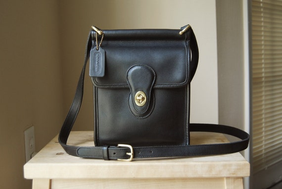 Authentic Vintage Coach Murphy Bag - Made in USA - Black Leather Crossbody Bag with Flap and Turnlock Closure