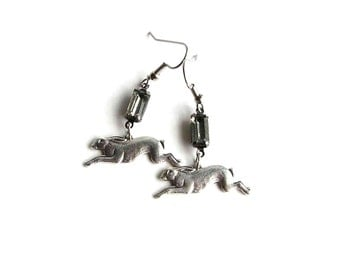 rhinestone & bunny rabbit earrings - spirit animal jewelry