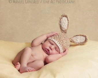 Crocheted Baby Bunny Hat, Newborn Bunny Hat, Baby Boy Hat, Baby Girl Hat, Newborn Hat, Newborn Photography Prop