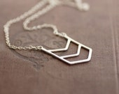 Chevron Necklace - Sterling Silver - Long Chain