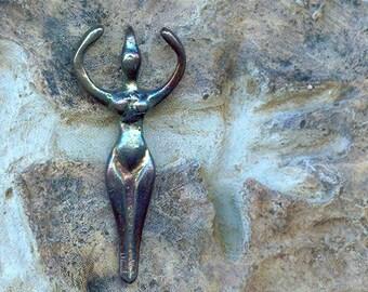 Gifts for Pagan Gals.... Moon Goddess Pendant in Metallic Finish - Blues Purples and Gold.. Sacred Feminine Pagan Symbol  1-GP-M