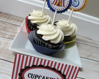 Circus Party Custom Cupcake Toppers - Under the Big Top Collection