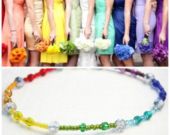 Summer Outdoors Rainbow Bracelet Anklet Colorful Beaded Anklet Minimal Bracelet Silver Crystal Glass Beads Hippie Bohemian Anklet lgbt