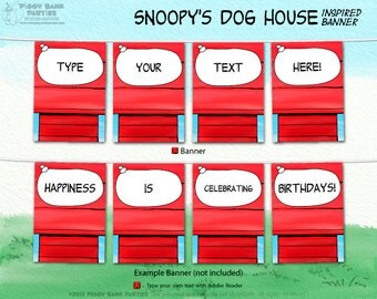 SNOOPY'S Dog House Inspired Banner - DIY Printable Peanuts Gang Banner // Print at Home Snoopy Bunting // Comic Strip - Instant Download