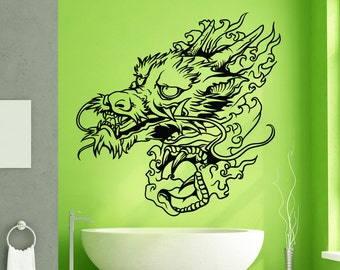 Vinyl Wall Decal Sticker Water Dragon Head 1443m