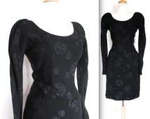 Vintage 1950's Dress // 50s Black Cocktail Wiggle Dress with Full Moon Print // DIVINE