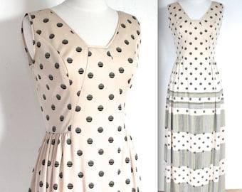 Vintage 1960's Dress // 60s Long Cream Polka Dot Party Dress // Maxi Mod Dress